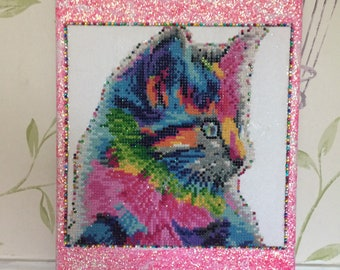 Handcrafted  Home Deco Fully completed  Gem painting  sparkly Rainbow cat