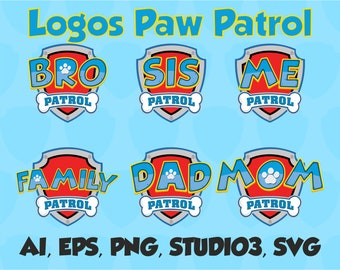 Paw Patrol clipart silhouette – Paw Patrol svg – Mom Patrol svg file – Dad Patrol svg – vector files – SVG, PNG, EPS, Ver 1.0