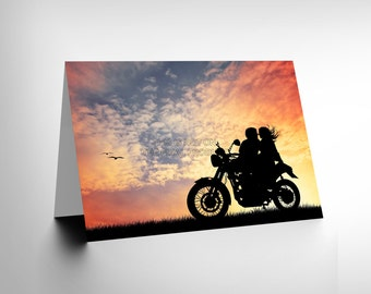 Motorbike Card - Couple Silhouette Sunset Blank Greetings Birthday Card Art CL349