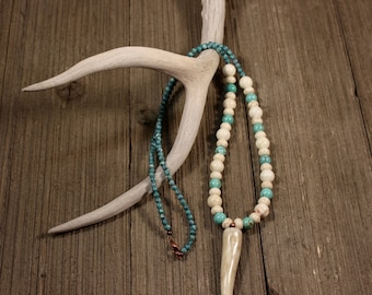 Deer Antler Necklace-Antler Jewelry- Beaded Antler Necklace-DesignsInAntler