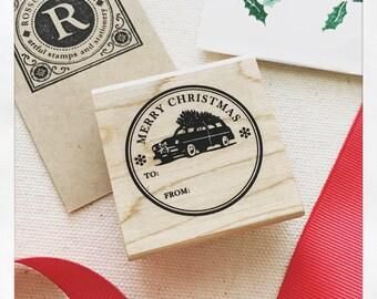 Christmas gift tag stamp - Christmas Tree Stamp - Merry Christmas Stamp - Gift Tag Stamp