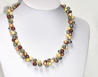 VINTAGE Pearl Imitation Necklace Cream Chocolate Silver Beads