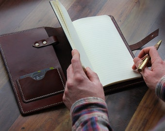 Handmade A5 Leather Notebook Cover with Closure, A5 Moleskine Cover, Leather Journal Cover, Leather Anniversary Gift