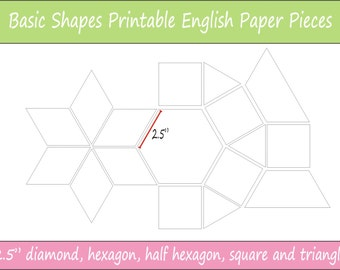 "2.5"" Printable Basic Shapes for English Paper Piecing 