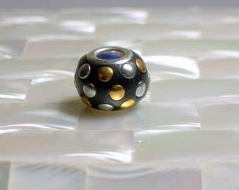 2pcs Polymer Clay Bead Black silver tone gold brass Embellished European Cable Style Jewelry Jewellery Craft Supplies