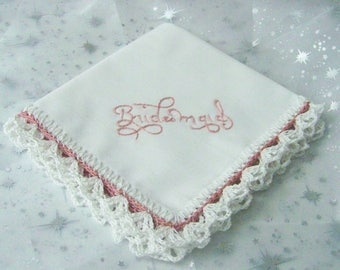 Bridesmaids Hanky, Bridal Party Gift, Custom Embroidered, Personalized Hankie, Ready to ship