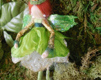 Kelly Green Irish Felted Fairy Decoration w/ Glimmer Top Hat