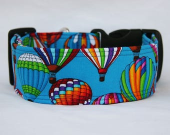 Only 1 Available Hot Air Balloons Adjustable Dog- Pet Collar- Pet Accessories- Supplies Dog Collar- Large Breed Dog- 2 inches wide