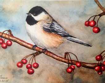 Watercolor Chickadee on Berry Branch