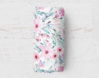 Floral Swaddle, Floral Baby Blanket, Watercolour Muslin Swaddle, Wrap Blanket, Baby Swaddle, Nursing Cover, Pram Blanket, Baby Comforter