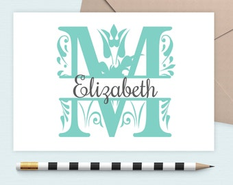 Personalized Note Card, Stationery Set, Monogram Stationary, Personalized Stationery, Custom Note Card