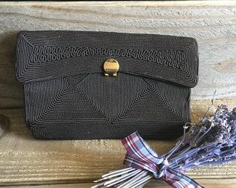 Vintage Clutch - Corde Clutch - Corde Purse - Vintage Corde Bag - Black Clutch - Vintage Accessories - 1940s Clutch - 1940s Accessories
