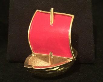 Vintage Trifari Walnut Sailboat With Red Enamel Sail / Brooch / 1960's / Rare Pin / Hard to Find /  Collectible Trifari Brooch / Gift Idea