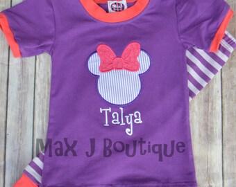Personalized Applique Children Pajamas -  Monogrammed girl Mouse PJs - Personalized Girl Pajamas