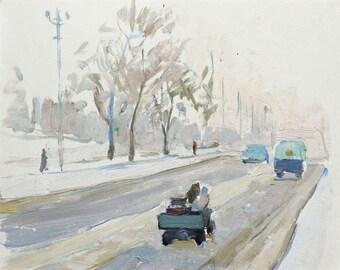 WINTER TOWNSCAPE ORIGINAL Vintage Oil Painting by Soviet artist V.Shcherbina 1965 Landscape, Cars on the street, One of a kind Handmade art