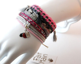 Cuff multi strand pink and silver - leather Liberty and rhinestones