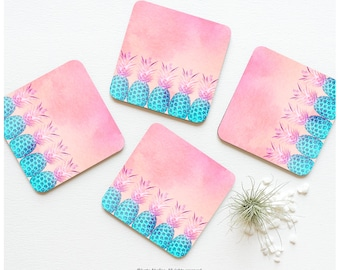 Coaster Set of 4 Pineapple Parade, Pink Cork Coasters, Coral Teal Pineapple Coaster Set, Tabletop Coasters 35.