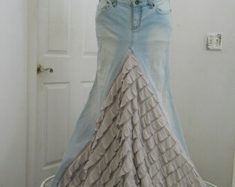 Belle Époque ruffled jean skirt almond beige taupe  bohemian mermaid beach wedding  Renaissance Denim Couture Made to Order