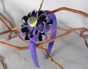Purple Flower Headband - Zipper Flower - Zipper Headband - Upcycled - Recycled - Repurposed - Girls Headband -Womens Headband -Baby Headband