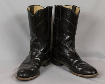 Cowboy boots, Justin boots, Roper boots, Men's Size 9B, Black boots, White stitching, Southwestern design, Soft leather boots