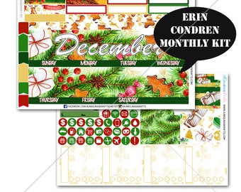 Christmas Stickers MONTHLY Planner Kit, for Erin Condren Planner, Life Planner Sticker, Monthly Sticker Kit, New Year kit #SQ00030-EC