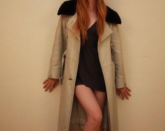 Vintage 70s leather fur collar coat