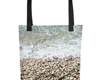 Beach Print Tote, Tote Bag, Lake Print Tote, Water Print Tote, Lake Photo Tote, Beach Tote Bag, Summer Tote, Cobbles, Cat Cottage Designs