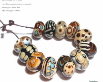 TRIBAL Handmade Lampwork Bead Set in Ivory Sienna Mocha Black Turquoise Brown Set of 12