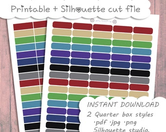 Printable Quarter Boxes ~ Darks Set || Planner Stickers : The happy planner, Mini Happy Planner, Personal Planner