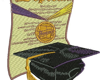 Graduation Diploma & Cap | Machine Embroidery Design or Pattern