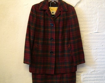 Pendleton Plaid Suit Vintage 1960s Red Wool Coat Skirt Jacket Women's