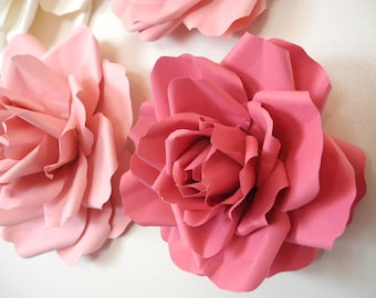 10 Piece/ 4 inches Flowers Wedding Paper Flowers  Bridal shower decor Flower table decoration Large roses Nursery Wall Decor