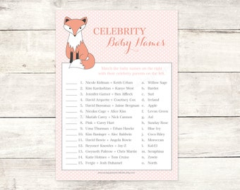 fox baby shower celebrity baby names matching game card printable baby girl fox DIY pink cute baby shower digital games - INSTANT DOWNLOAD