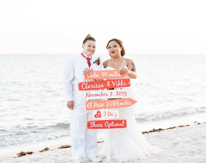Coral Directional Signage for Wedding, Beach Wedding Decor Gift, Shoes Optional I Do's Ceremony Sign