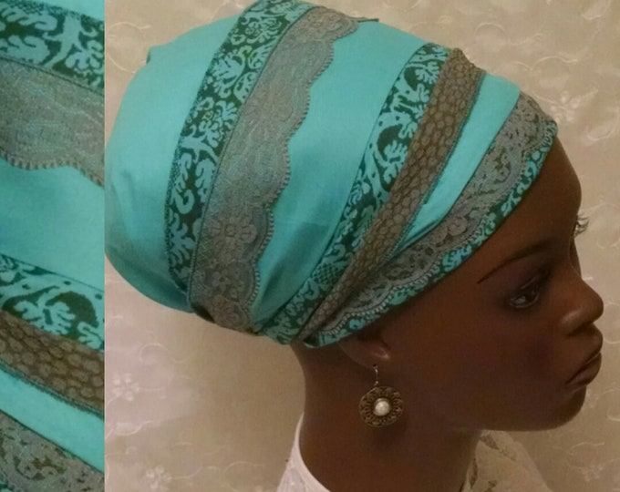 Featured listing image: Turqouise cotton and lace sinar tichel, head scarf, hair snood, head wrap, hair scarf, head covering, alopecia, chemo, apron tichel