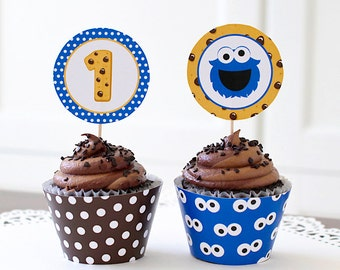 Cookie Monster Cupcake Topper, 1st Birthday, Cookie Monster Birthday Topper, Monster Party Toppers, Cookie Monster Decoration - 2.25 inch