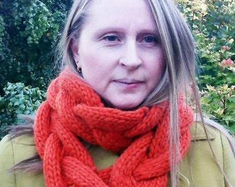 Chunky knit braided scarf
