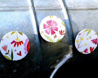 Magnets, Set of 3, Raised, Paper, Decoupage, Flower, Floral, Art, Painting, Painted, Pink, Red, Green, Yellow