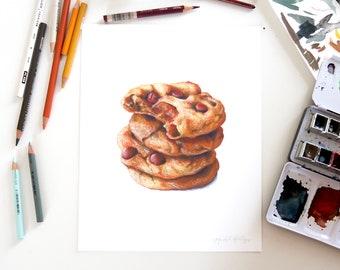 Chocolate Chip Cookies // 8x10 Food Illustration // Art Print