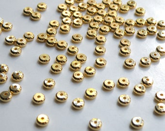 25 round heishi rondelles shiny gold plated brass spacer beads 5x2mm 9322MB