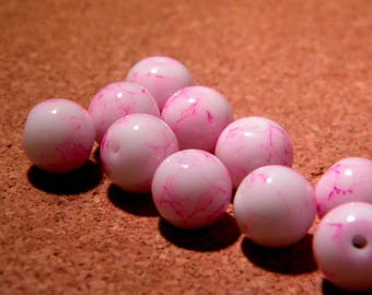 20 glass beads 10 mm pink marble - PF4