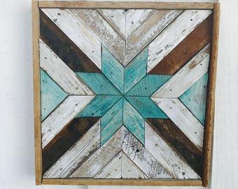 """12x12"""" Square Rustic Wood Wall Art - Star. Wooden Wall Art, Geometric Wall Art, Wall Art, Reclaimed Wood Art, Modern Wall Art,"""