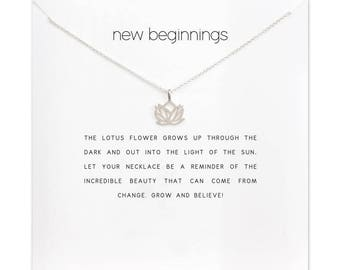 New beginnings etsy delicate and feminine new beginnings handmade inspirational silver plated lotus necklace graduation birthday gifts for her carded mightylinksfo