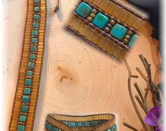 Cuff Bracelet Leather & Beads