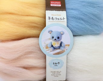 """4 Colors of Needle Felting Wool - """"Milk""""- Soft Shades of Yellow, Blue, Pink, & White"""