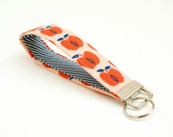 Apple Keychain - Red, Peach, and Navy - Key Fob - 5 Inch Key Ring Wristlet - Loop Keyring - Cute Key Strap - Short Lanyard - Fruit - Stripes