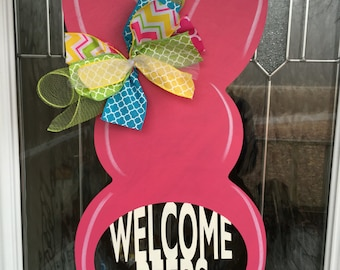 Welcome peeps, peeps door hanger, easter door hanger, easter door decor, easter door, easter, spring decor, spring door decor, bunny, rabbit