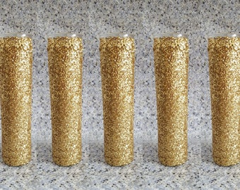5 Glitter Candles, 8 Inches Tall, Votive Candle, Wedding Candles, Centerpiece Candle