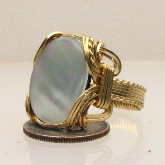 Handmade Solid 14kt Gold Wire Wrap Mother of Pearl Ring