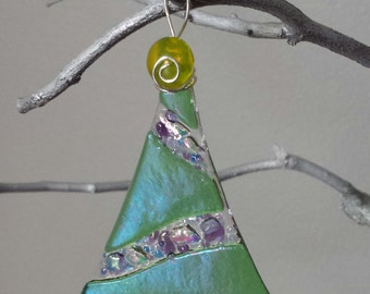 Fused Glass Wave Tree Ornament